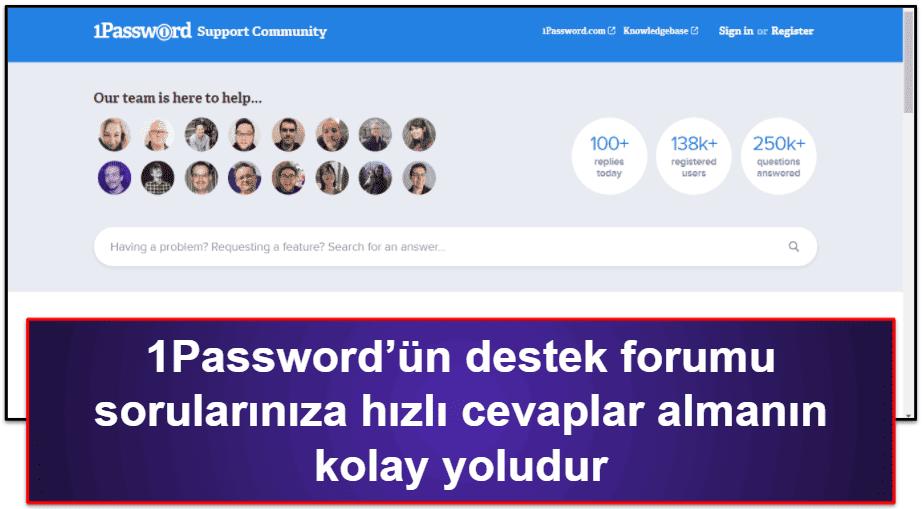 1Password Müşteri Desteği