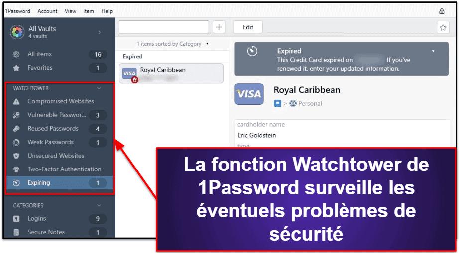 Caractéristiques de sécurité de 1Password