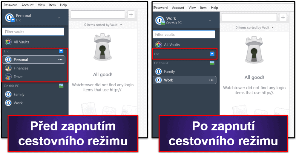 Bezpečnostní funkce 1Password