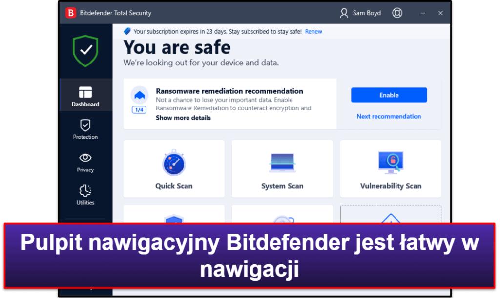 Łatwość użycia i ustawienia Bitdefendera