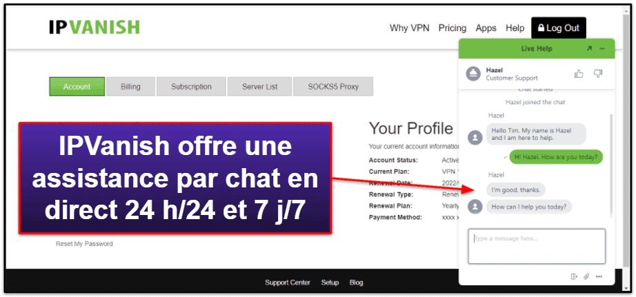 Assistance clientèle d'IPVanish