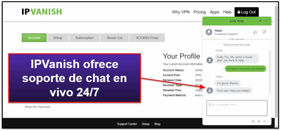 Atención al cliente de IPVanish