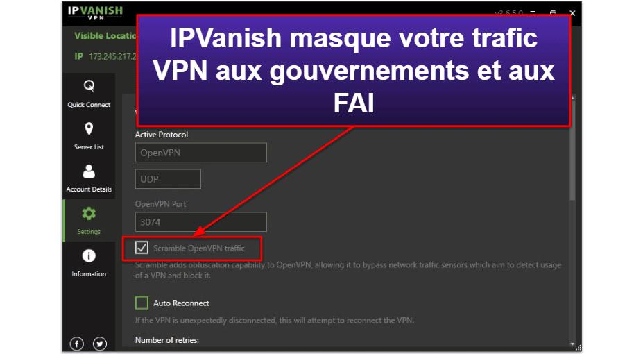 Caractéristiques d'IPVanish