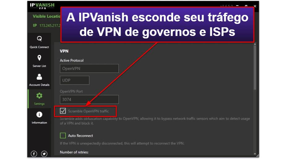 Recursos da IPVanish