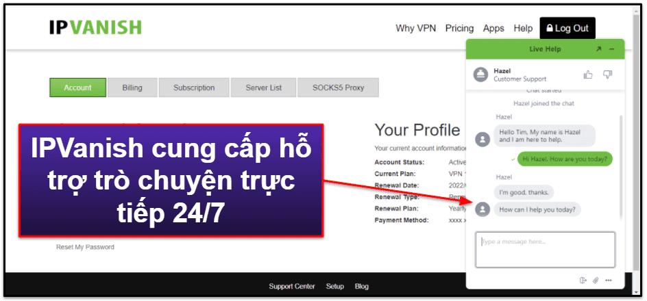 Hỗ trợ khách hàng của IPVanish