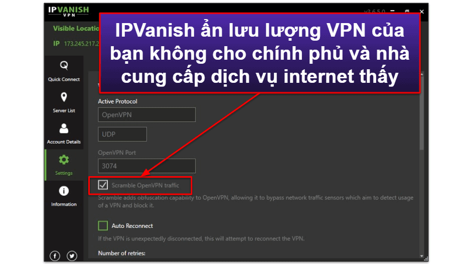 Các tính năng của IPVanish
