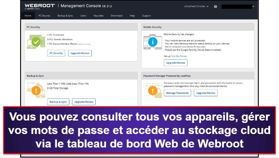 Facilité d'utilisation et de configuration de Webroot