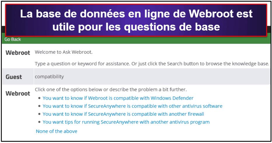 Assistance clientèle de Webroot