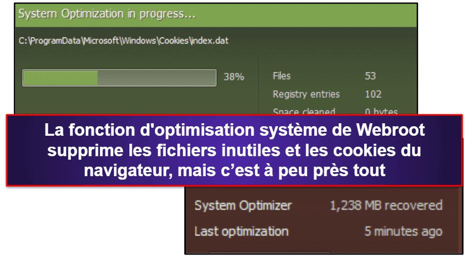 Fonctionnalités de sécurité de Webroot