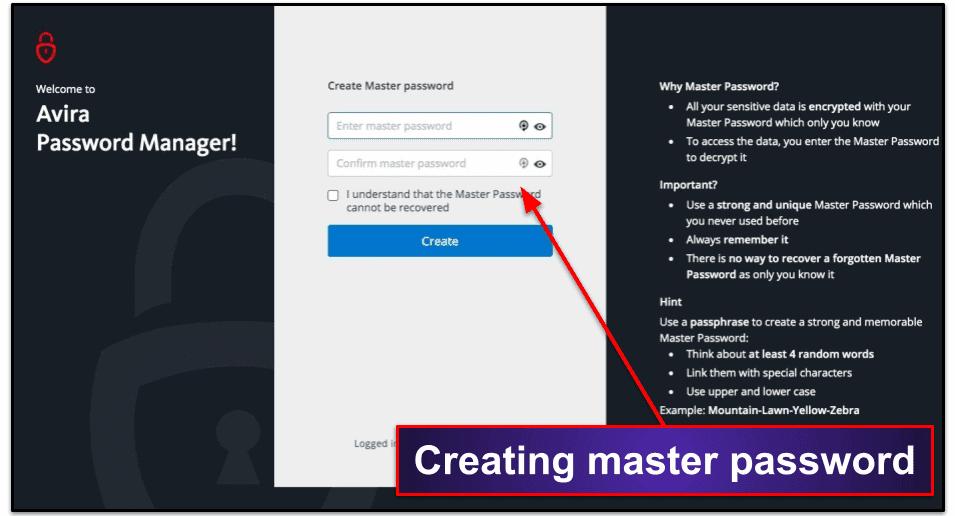 Avira Password Manager Ease of Use & Setup