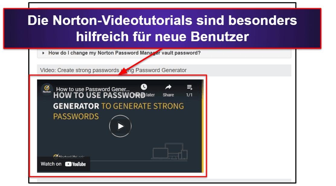 Norton Passwort-Manager Kundenservice
