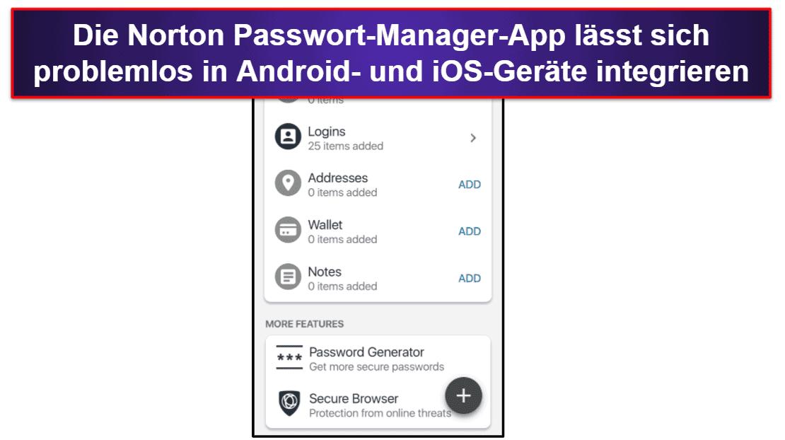 Norton Passwort-Manager Mobile App