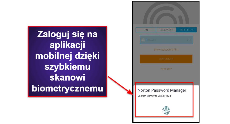 Aplikacja mobilna Norton Password Manager