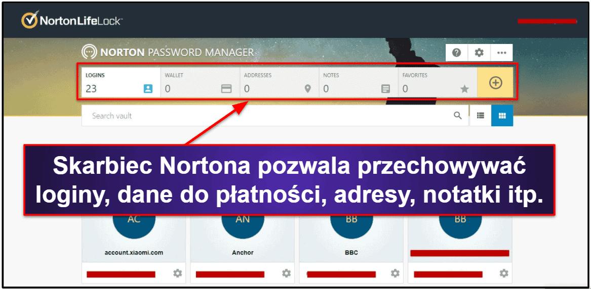 Funkcje bezpieczeństwa Norton Password Manager