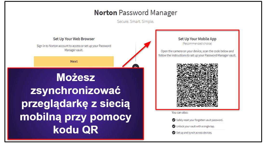 Łatwość użycia i ustawienia Norton Password Manager