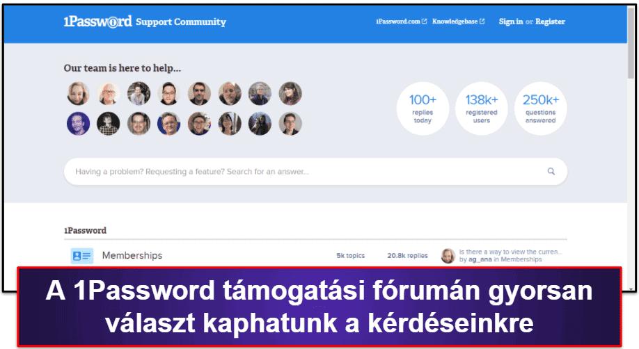 A 1Password ügyfélszolgálata