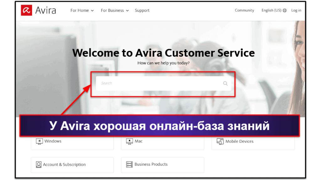 Пользовательская поддержка Avira