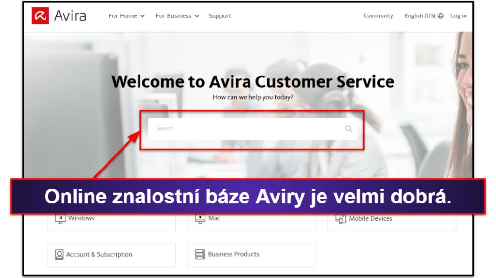 Uživatelská podpora Avira