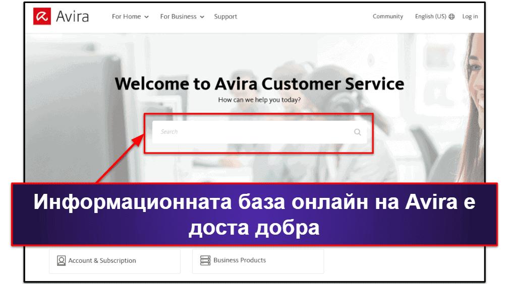 Потребителска поддръжка на Avira