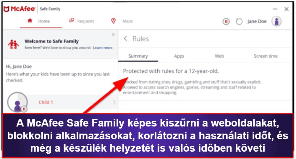 McAfee biztonsági funkciók