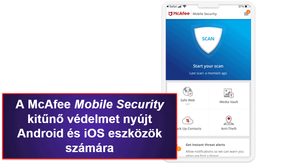 McAfee mobilalkalmazás