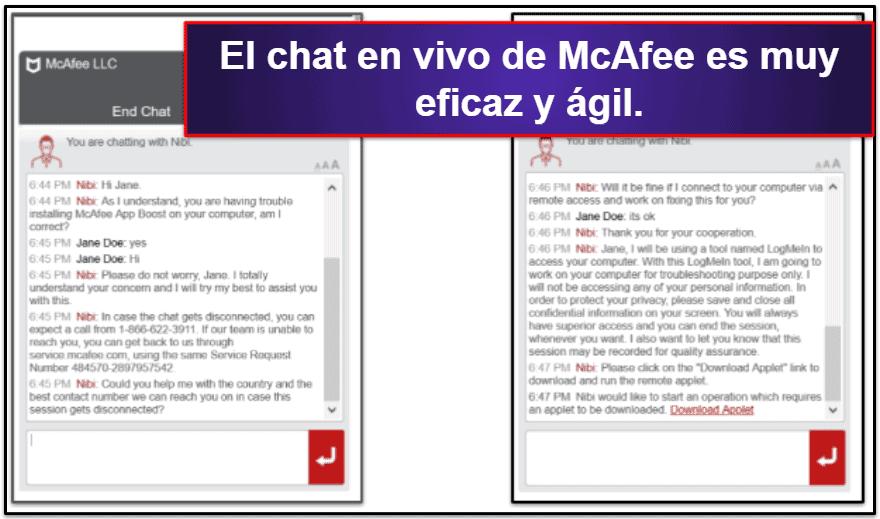 Atención al cliente de McAfee