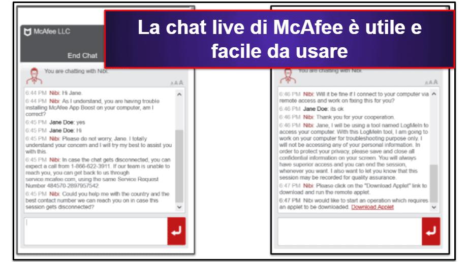 L'assistenza clienti di McAfee