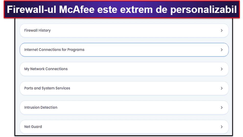 Funcții de securitate McAfee