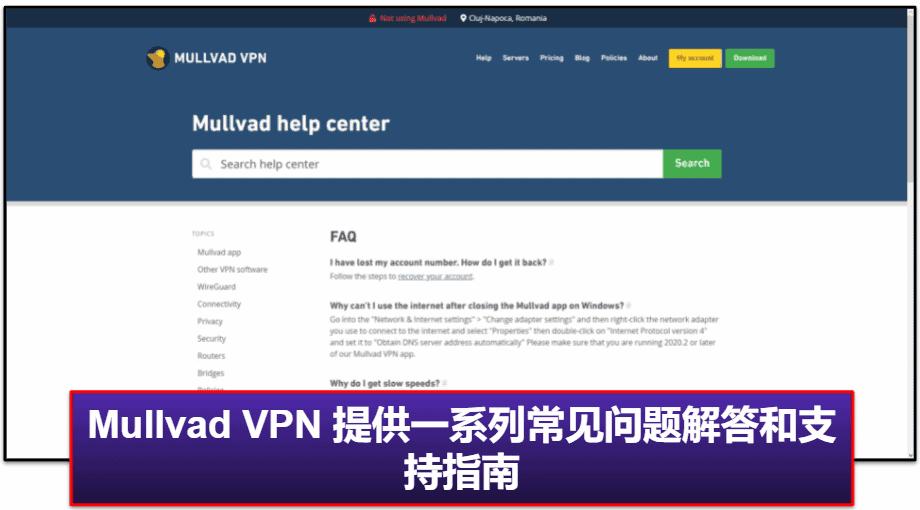 Mullvad VPN 客服支持