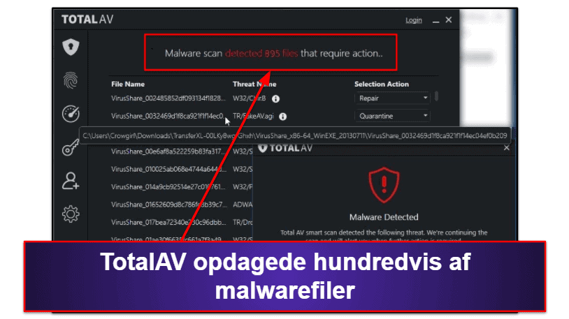 TotalAV sikkerhedsfunktioner