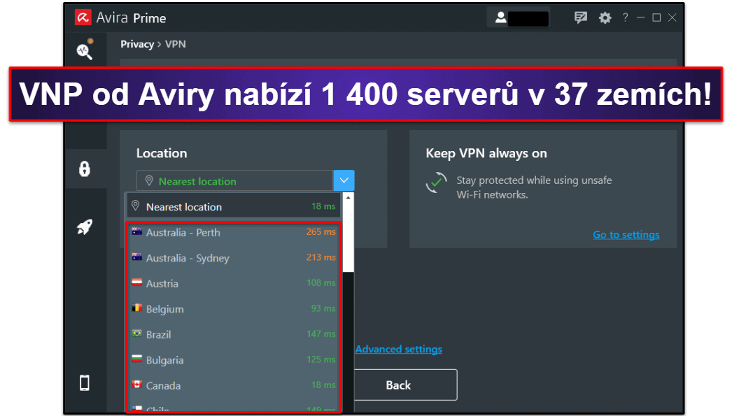Bezpečnostní funkce Avira