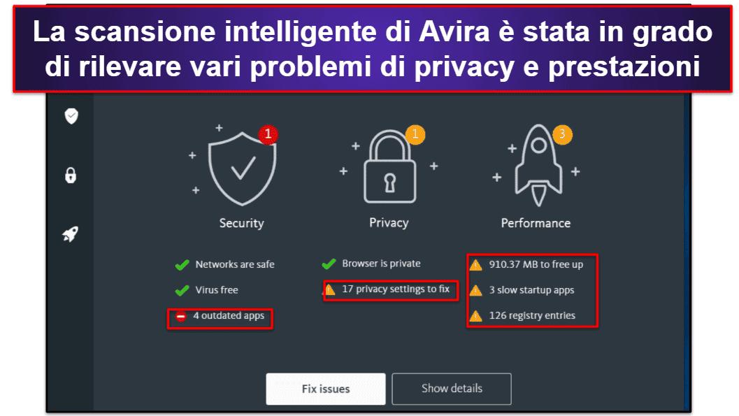 Funzionalità di sicurezza di Avira